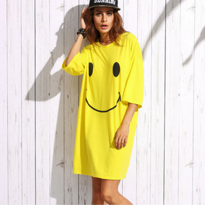 Smiley Face Print Drop Shoulder T-shirt Dress