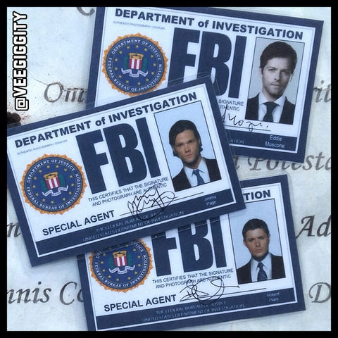 Supernatural FBI badges replicas Dean Winchester Sam Winchester Castiel