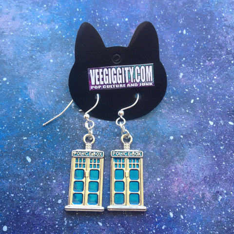 Tardis earrings Dr Who police box blue the doctor