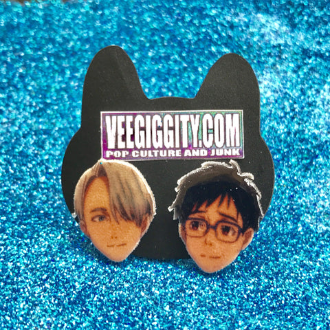 Victor and Yuri Stud earrings Yuri on Ice anime skating