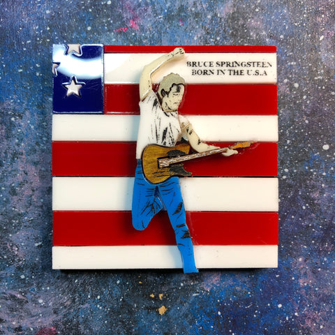 Born in the USA Acrylic brooch