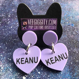 Keanu Acrylic Laser Cut Earrings Candy Heart