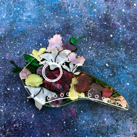 PREORDER Clear Flower Plague Mask Acrylic Brooch