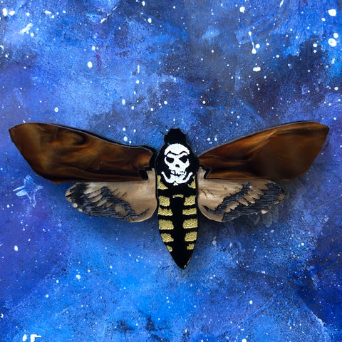Brenda Death's Head Moth Acrylic brooch