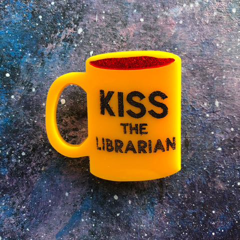 Kiss the Librarian Acrylic Brooch
