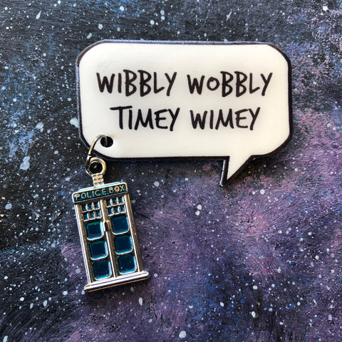Wibbly Wobbly Timey Wimey quote badge/pin with tardis charm Dr Who