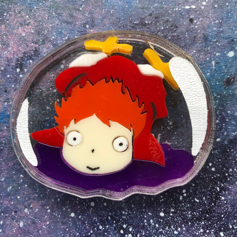 Ponyo Clear Bubble Sandwich Acrylic Brooch