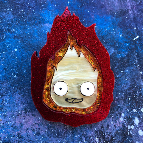 Cute Calcifer Acrylic Brooch