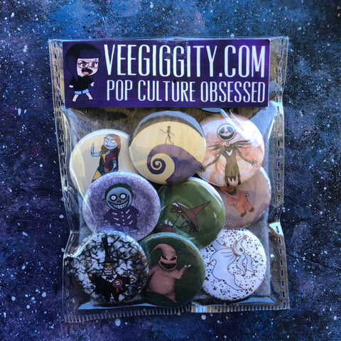 "Nightmare Before Christmas 1"" button set badges pins Xmas jack skellington sally oogie boogie"