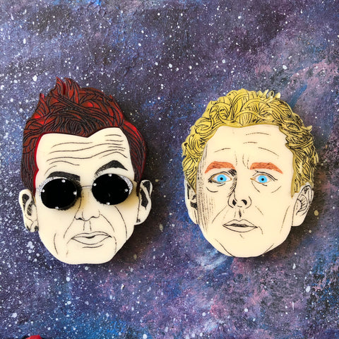 Aziraphale and Crowley Acrylic brooch set