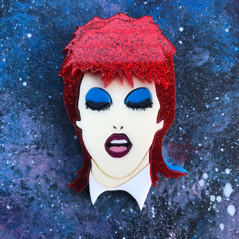 Life on Mars Acrylic Brooch Bowie