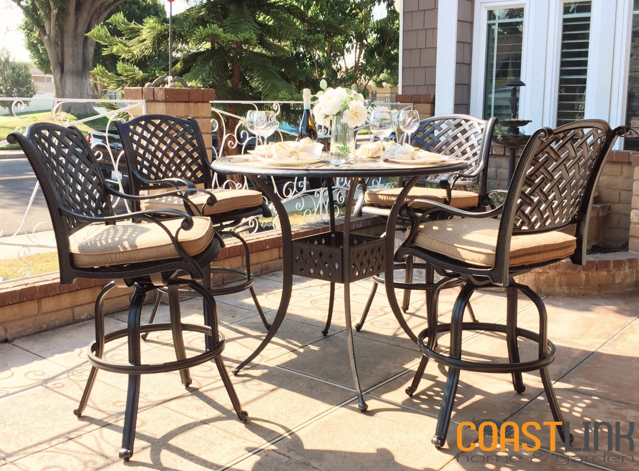 Nevada 5 Piece Cast Aluminum Patio Bar Set