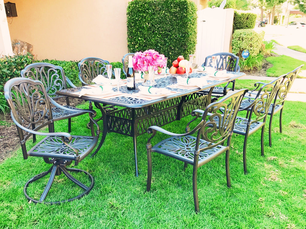 Elise Cast Aluminum 9-Piece Patio Dining Set