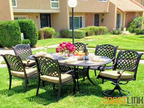 Nevada Cast Aluminum 7-piece Patio Dining Set