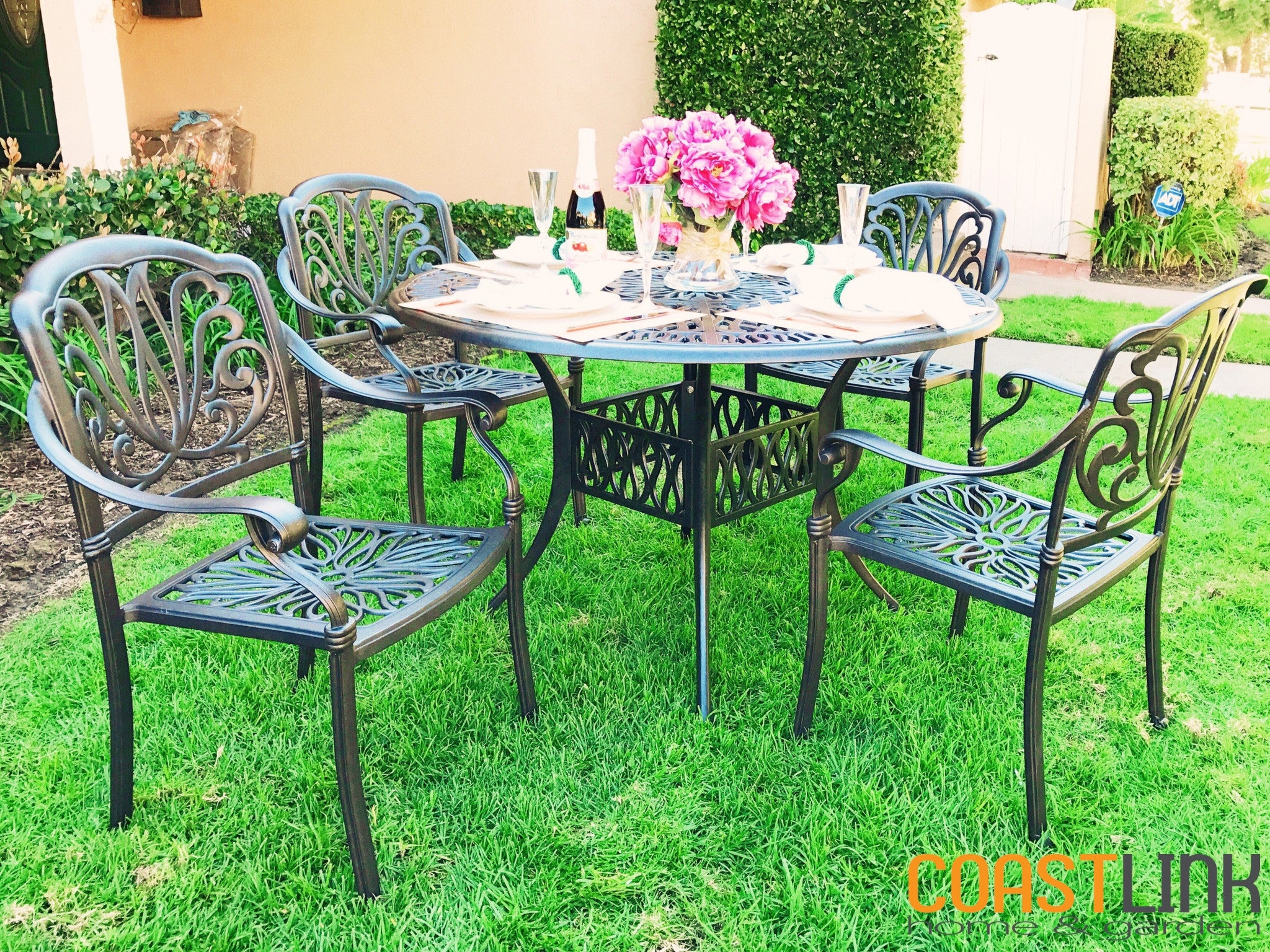 ... Elise Cast Aluminum 5 Piece Patio Dining Set ...