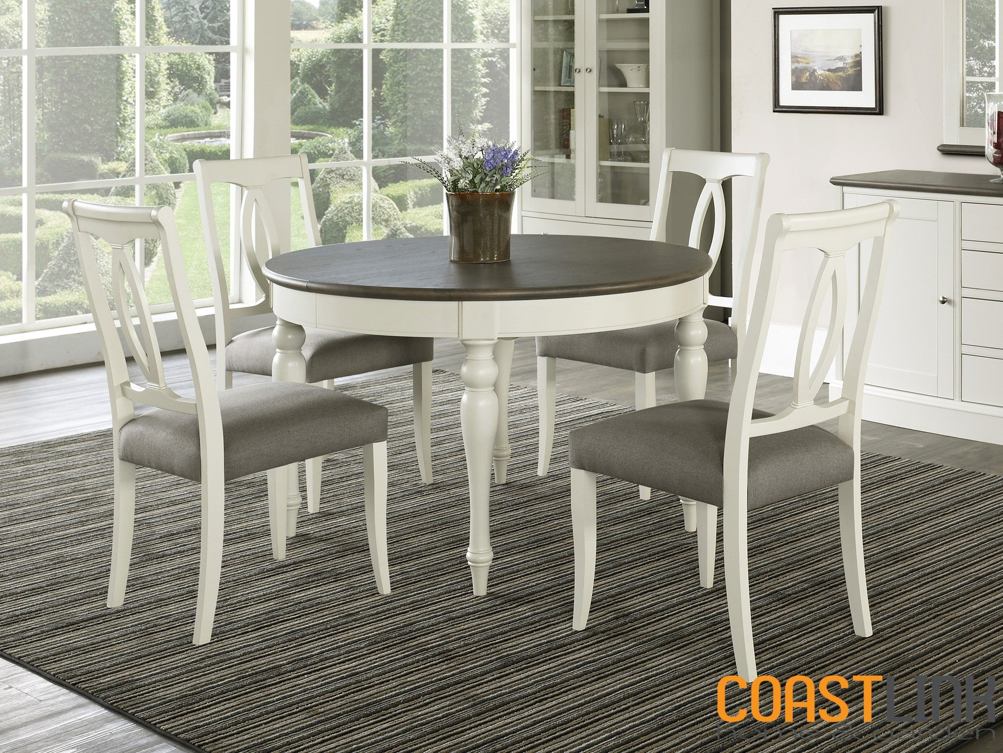 Miraculous Vegas 5 Piece Round To Oval Extension Dining Set Coastlink Uwap Interior Chair Design Uwaporg