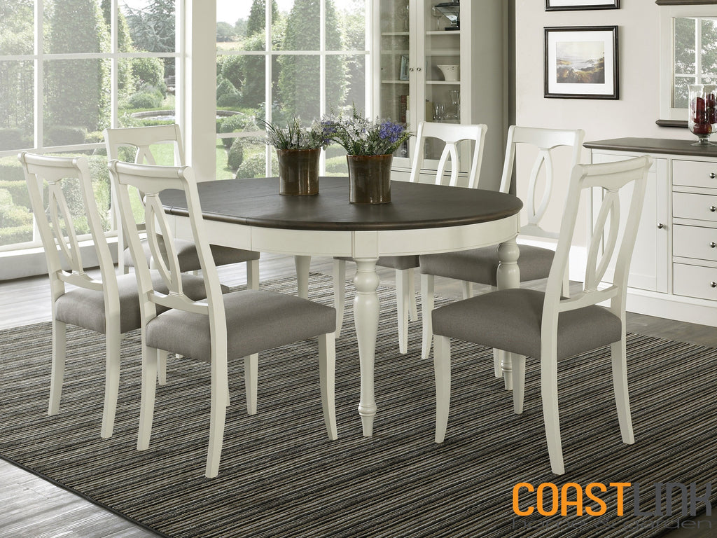 Vegas 7-Piece Round-To-Oval Extension Dining Set