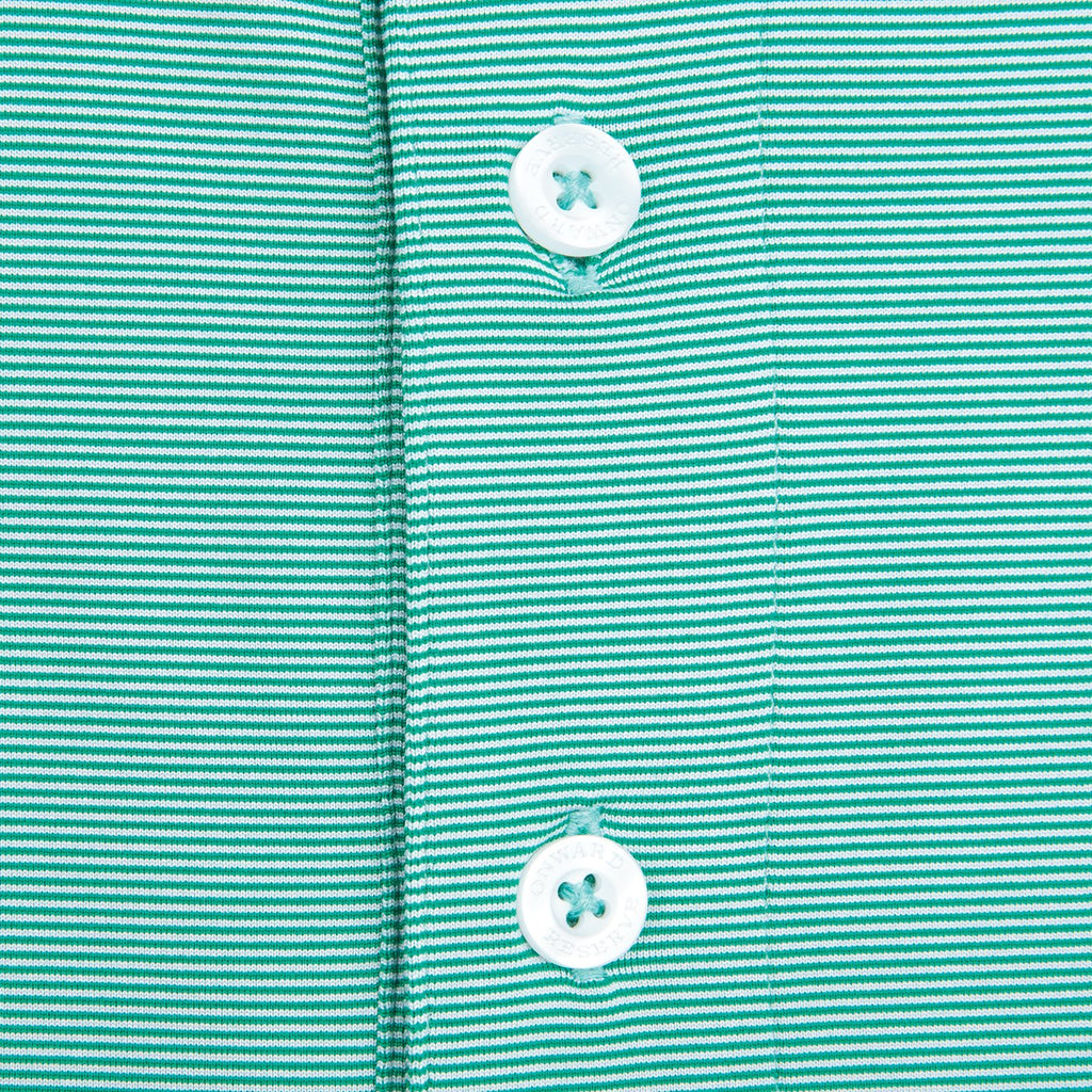Hairline Stripe Performance Polo | Green & White