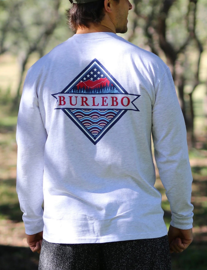 Patriotic Logo - Heather Ash Gray LS