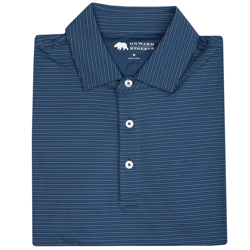 TOUR STRIPE PERFORMANCE POLO NAVY