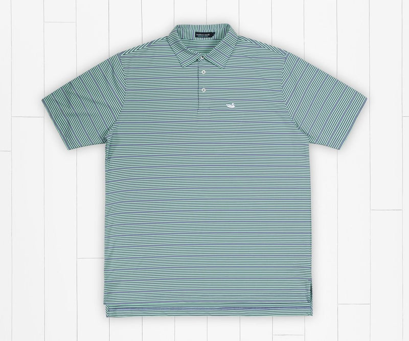 Bermuda Performance Polo - Chenier Stripe Slate & Mint