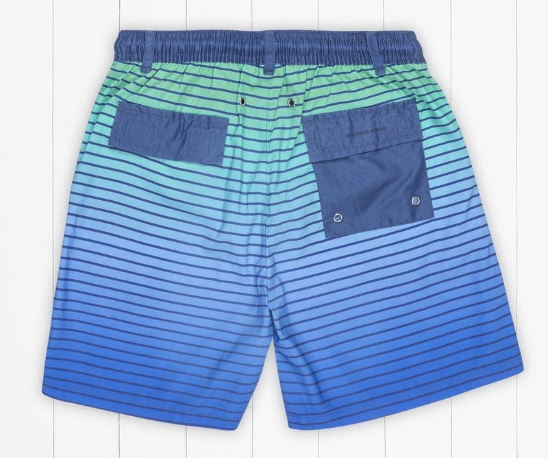 Youth Harbor Trunk - Faded Lines Slate & Light Blue