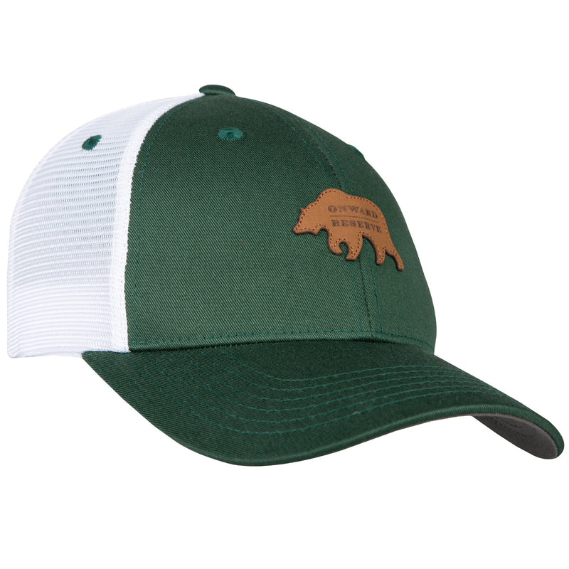 Leather Patch Trucker Hat | Dark Green