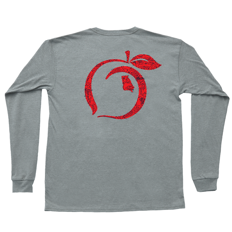 Football Montage Long Sleeve Tee | Gray
