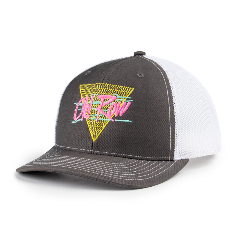 OLD ROW RETRO TRIANGLE MESH BACK HAT (CHARCOAL/WHITE)