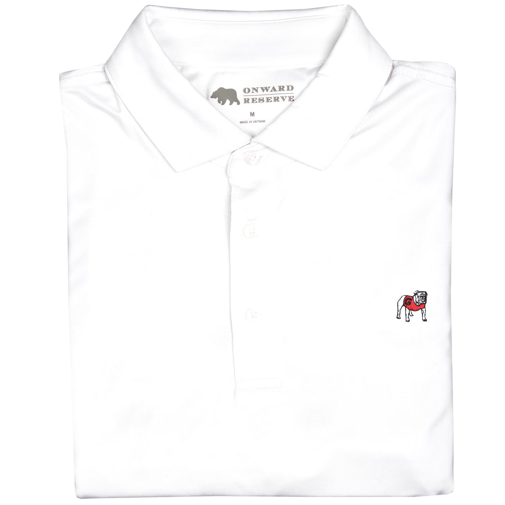 SOLID STANDING BULLDOG PERFORMANCE POLO / WHITE