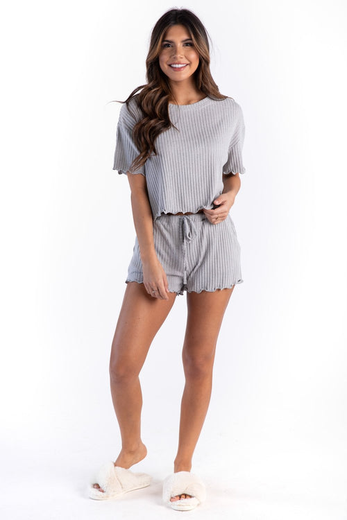 RIBBED SINCERELY SOFT LOUNGE SHORTS GLACIER