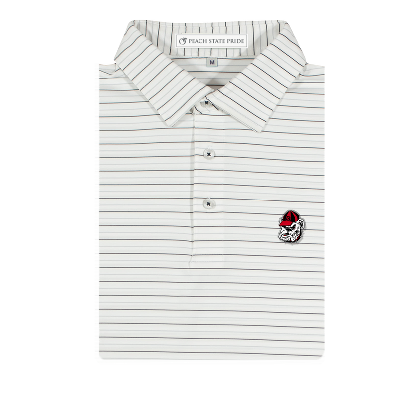 UGA Bulldog Head Betula Stripe Polo | White & Ash Gray