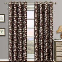 Charlotte Pair (Set of 2) Jacquard Grommet Window Curtain Panels, Floral Design
