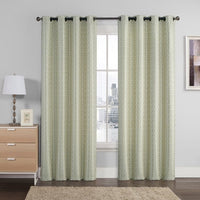Empress Embroidered 110Wx90L Curtains With Grommet Top Jacquard Drapes (Pair)