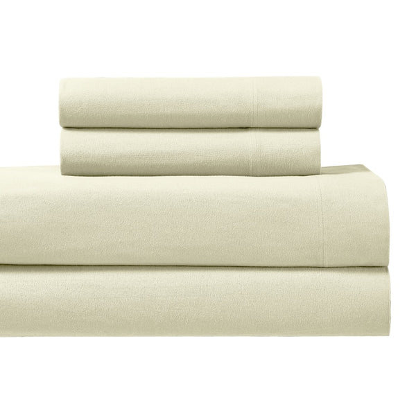 Heavyweight Flannel Sheets 170GSM Ultra Soft & Warm Solid Cotton Flannel Adjustable Bed Sheet Set; Includes Flat Sheet, Fitted Sheets, & Coordinating Pillowcases