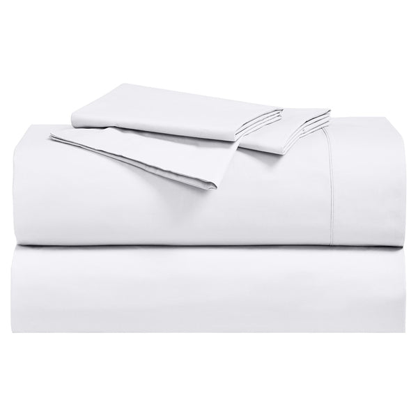 Luxurious 250 Thread Count 100% Cotton Percale Solid Sheet Sets; Includes Flat Sheet, Fitted Sheet, & Coordinating Pillowcases