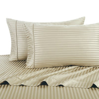 300 Thread Count 100% Cotton Damask Striped Bedding; Adjustable Bed Sheet Set; Includes Flat Sheet, Fitted Sheets, & Coordinating Pillowcases