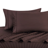 Breathable 600 Thread Count 100% Cotton Damask Striped Bedding; Adjustable Bed Sheet Set; Includes Flat Sheet, Fitted Sheets, & Coordinating Pillowcases