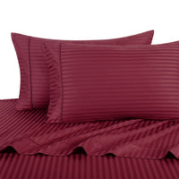 Breathable 600 Thread Count 100% Cotton Damask Striped Bed Sheet Set; Includes Flat Sheet, Fitted Sheet, & Coordinating Pillowcases