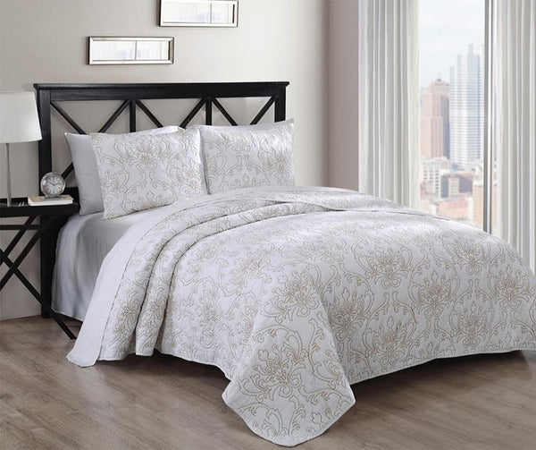 Exquisite Modern Simmon 100% Cotton Coverlet Set Solid Majestic Pattern; Includes Quilt & Coordinating Shams