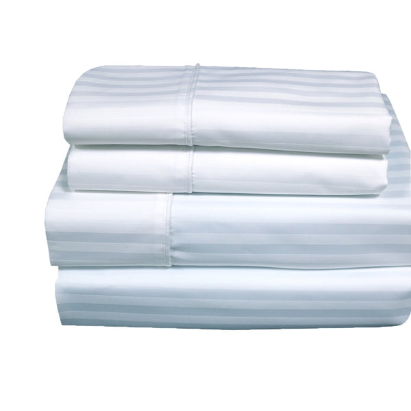 Wrinkle-Free 650TC 70% Cotton, 30% Polyester Damask Striped Bedding; Adjustable Bed Sheets Set; Includes Flat Sheet, Fitted Sheets, & Coordinating Pillowcases