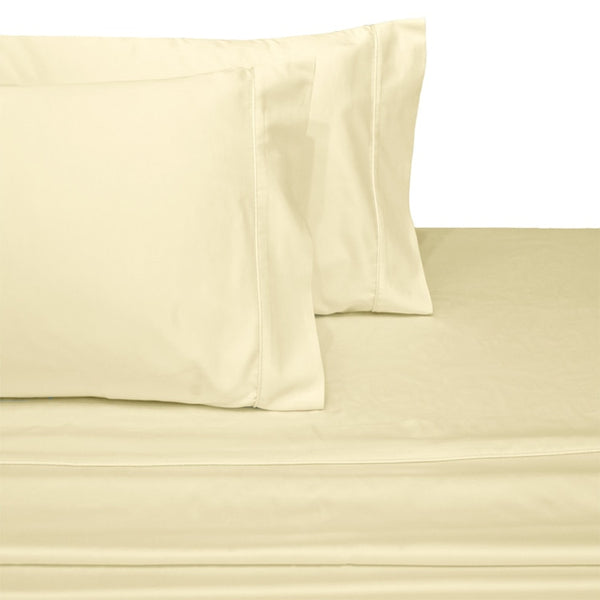 Wrinkle-Resistant 300 Thread count 100% Cotton Solid Bed Sheets Set; Includes Flat Sheet, Fitted Sheet, & Coordinating Pillowcases