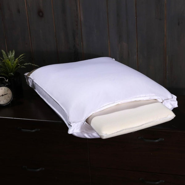Adjustable White Duck Down Pillow 280 Thread Count Cotton Shell Medium-Firm