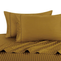 Waterbed 100% Cotton 300 Thread Count Striped Attached Sheet Sets; Includes Flat Sheet, Fitted Sheet, & Coordinating Pillowcases