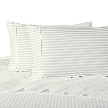Super Soft Hypoallergenic 100% Microfiber Striped Bed Sheet Sets; Includes Flat Sheet, Fitted Sheet, & Coordinating Pillowcases