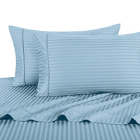 500 Thread Count 100% Cotton Damask Striped Pillowcases (Pair); Includes (2) Standard or King Pillowcases