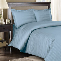 300 Thread Count 100% Cotton Striped Duvet Cover Set; Includes Duvet Cover and Coordinating Shams