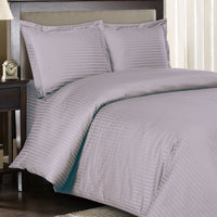600 Thread Count 100% Cotton Striped Duvet Cover Set; Includes Duvet Cover and Coordinating Shams