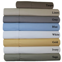 Wrinkle-Free 650TC 70% Cotton-30% Polyester Solid Bed Sheet Sets; Includes Flat Sheet, Fitted Sheet, & Coordinating Pillowcases