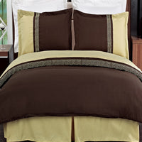 Astrid Embroidered 100% Microfiber (Black, Chocolate, or Taupe) Duvet Cover Set; Includes Duvet Cover and Coordinating Shams